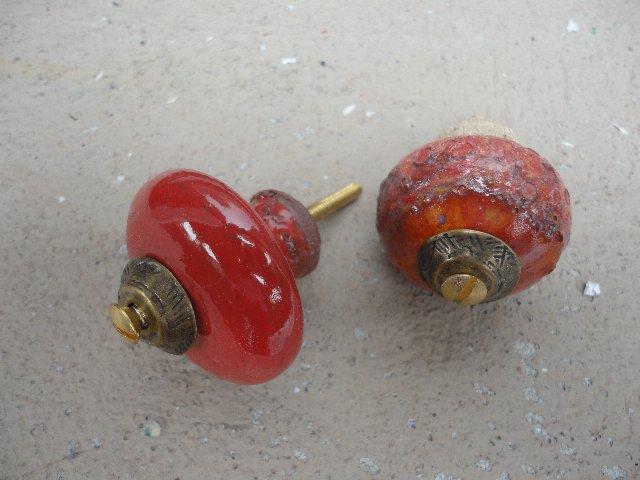 Türknauf rot mit Messingscheibe