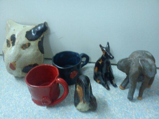 Töpferkurse - Keramikarbeiten von Kindern - beim Atelier Brigitte Lang in Rauenberg