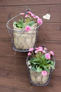Keramik Blumentöpfe mit Korb und Primeln