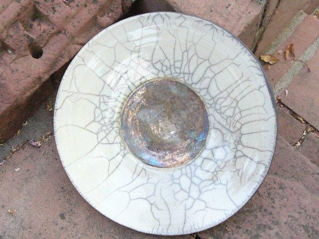 céramique cuisson raku coupe blanche argent