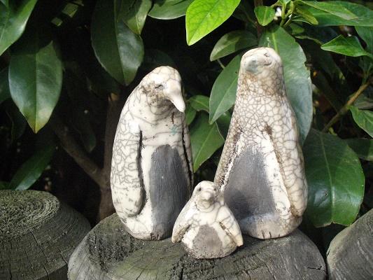 Keramik Raku Objekt Pinguinen