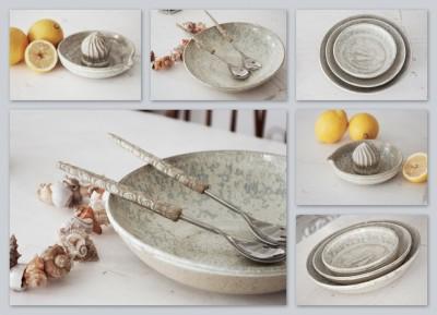 vaisselle en céramique - saladier avec couverts - assiettes - plats - presse-agrumes