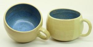 Tasse - gelb - hellblau von Keramik-Atelier Brigitte Lang in Rauenberg