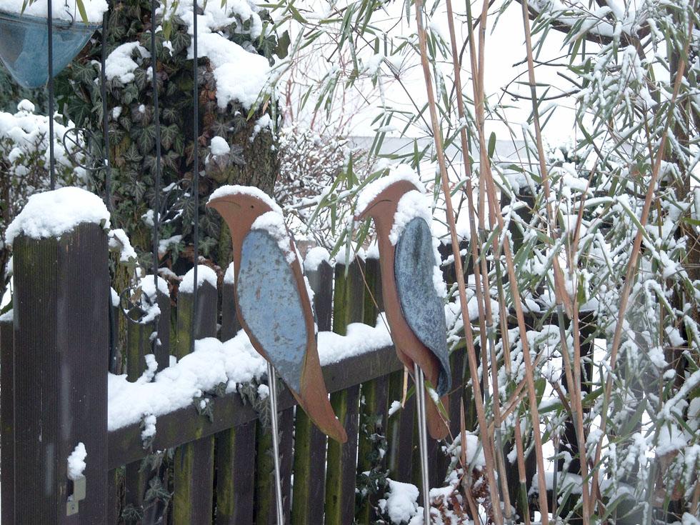 Vögel aus frostsicherer Keramik