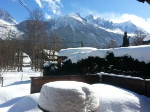 Mont-Blanc Chamonix Chalet Les Lupins - Terrasse im Schnee