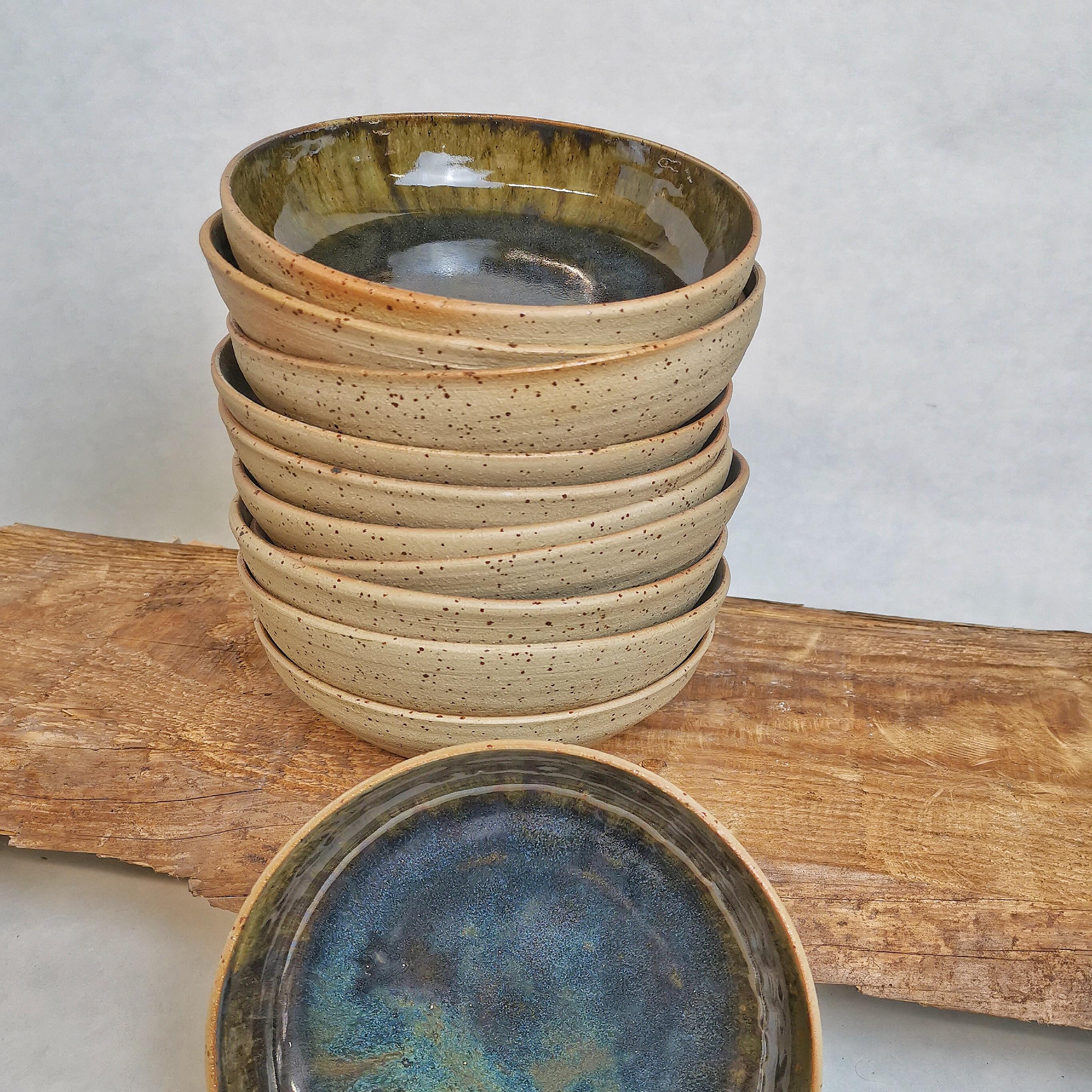 Suppenteller schwarz-blau Natur von Keramik-Atelier Brigitte Lang in Rauenberg