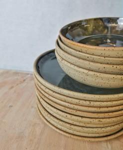 Teller und Suppenteller schwarz-blau - Natur von Keramik-Atelier Brigitte Lang in Rauenberg